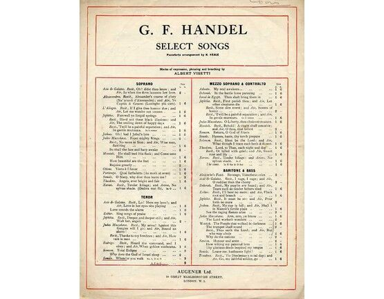 8134 | Handel - Where e\'er you walk - Song in the key of B flat major for Tenor Voice