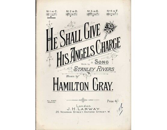 8187 | He Shall Give His Angels Charge - Song in the key of C major for low voice