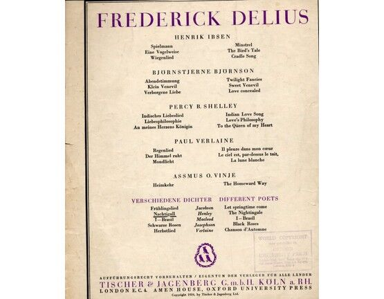 8654 | Delius -The Nightingale has a lyre of gold - Song in the key of F major - English and German Words