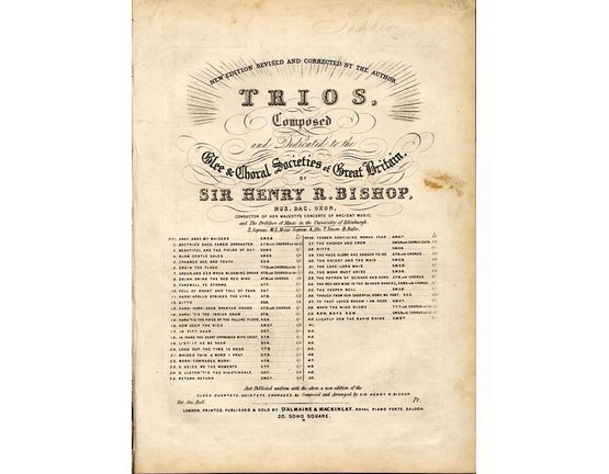 8974 | Hark! tis the Indian Drum - No. 14 of trios composed and dedicated to the Glee and Choral Societies of Great Britain - For Vocal Trio and Pianoforte